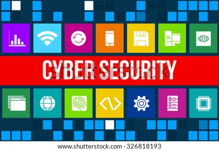 Cyber security concept image with business icons and  - stock photo