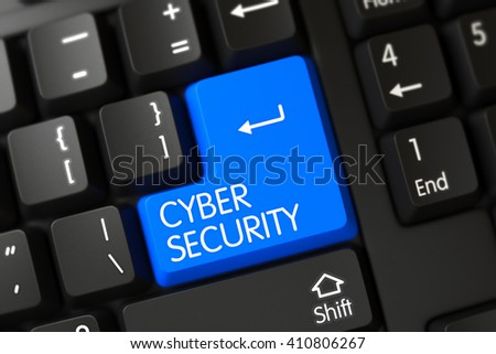 Cyber Security Concept: Modern Laptop Keyboard with Cyber Security on Blue Enter Button Background, Selected Focus. Black Keyboard with Hot Key for Cyber Security. 3D Illustration. - stock photo