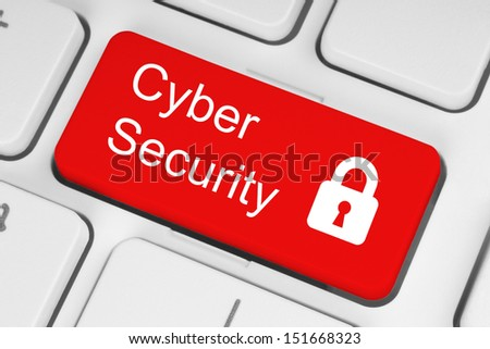 Cyber security concept on red button of white keyboard close-up  - stock photo