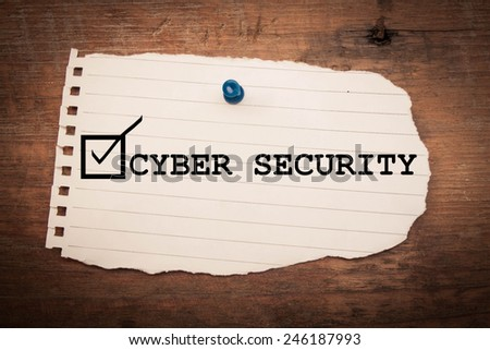cyber security on note paper  - stock photo