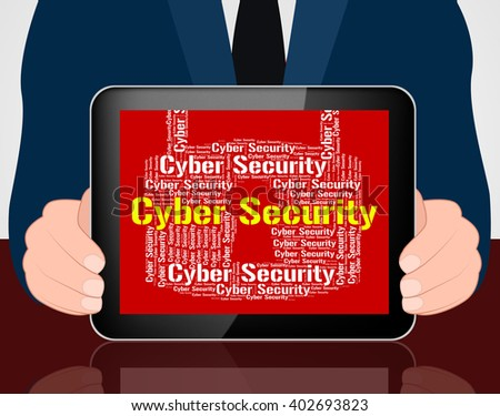 Cyber Security Showing World Wide Web And Web Site - stock photo