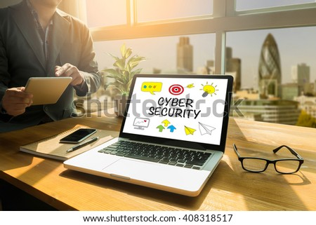CYBER SECURITY Thoughtful male person looking to the digital tablet screen, laptop screen,Silhouette and filter sun - stock photo
