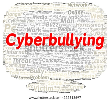 Cyberbullying word cloud shape concept - stock photo
