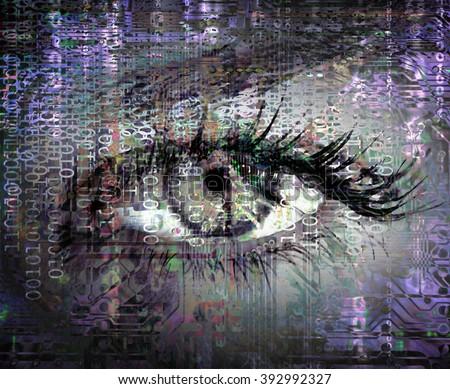 Cybernetic eye - stock photo
