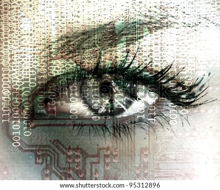 Cybernetic eye - stock photo