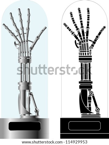 cybernetic hand with stencil. raster variant - stock photo