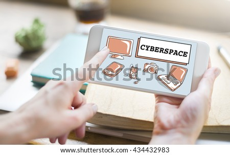 Cyberspace Digital Connection Electronics Devices Concept - stock photo