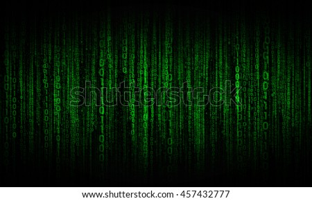 cyberspace with digital lines, binary hanging chain, abstract background with green digital lines - stock photo