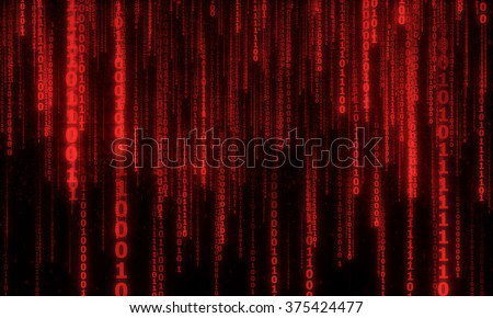 cyberspace with red digital falling lines, abstract background, binary hanging chain - stock photo