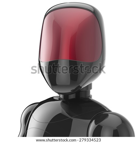 Cyborg black robot bot android futuristic character artificial concept red shiny face metallic. 3d render isolated on white background - stock photo