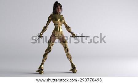 cyborg girl with golden armor and sai - stock photo