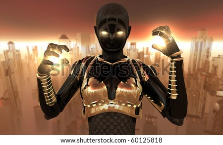 Cyborg holding energy charges - stock photo