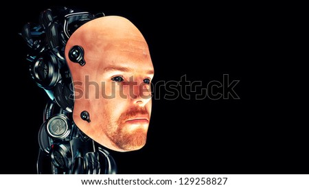 Cyborg human-like robotic head in profile. 3d render / Mask face - stock photo