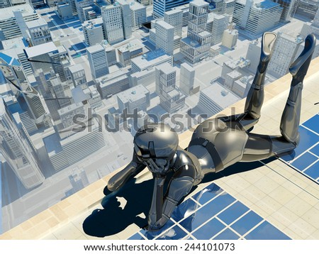 Cyborg on the roof of a skyscraper. - stock photo