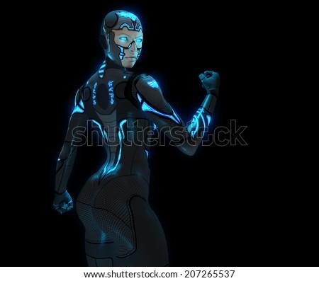 Cyborg woman - stock photo