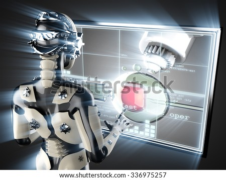 cyborg woman and artificial insemination on hologram display - stock photo
