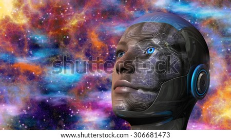 Cyborg woman with deep space background - stock photo