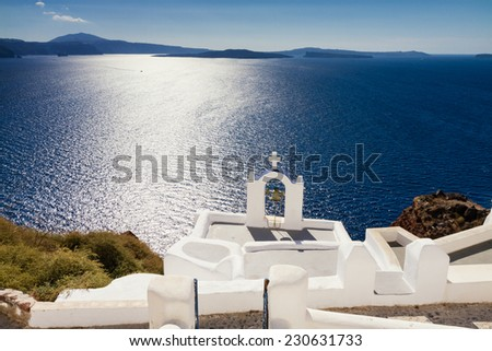 Cycladic church of the blue mediterranean sea, Santorini, Cyclades, Greece - stock photo