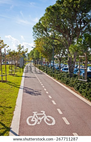 Cycle lanes at the Molos park in Limassol city, Cyprus - stock photo