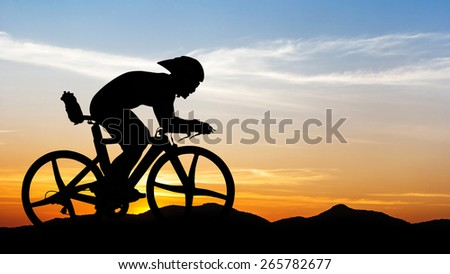 Cycling at the black mountain on twilight time in Thailand - stock photo