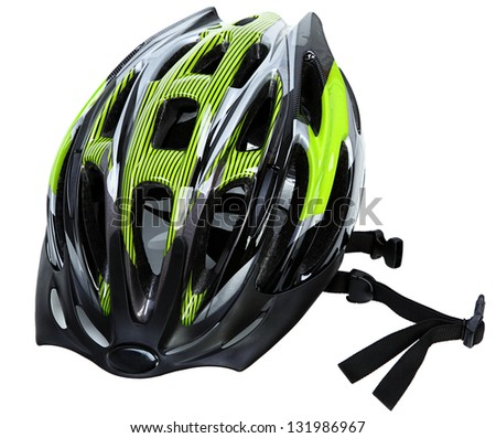 Cycling Helmet Isolated On White Background - stock photo