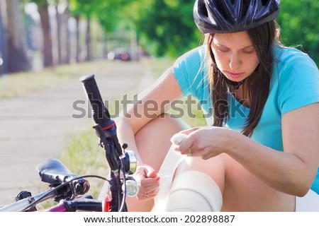 Cycling injury. - stock photo