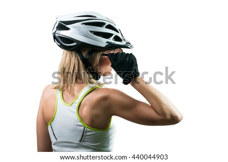 Cyclist concentrated for competition. Concept Winning in sports. Isolated on white background - stock photo
