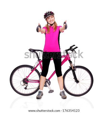 cyclist girl holding the bicycle thumbs up - stock photo