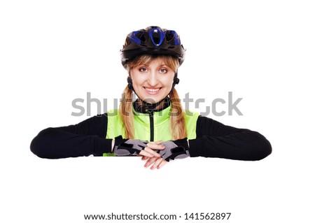 cyclist girl holding the horizontal blank closeup portrait - stock photo