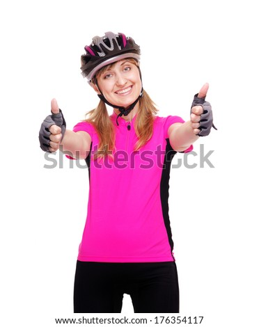 cyclist girl showing thumbs up - stock photo