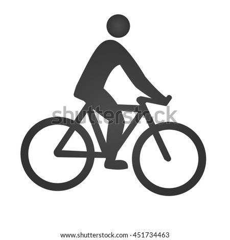 Cyclist icon. Simple flat logo of cyclist on white background. Silhouette of a cyclist. - stock photo