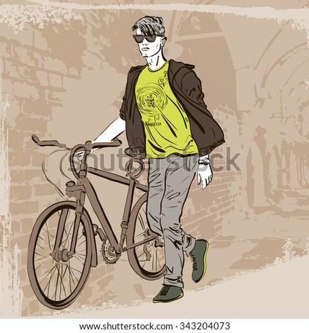 Cyclist man. Raster version  - stock photo