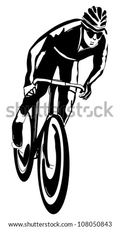 Cyclist, monochrome illustration - stock photo
