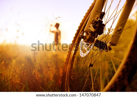 Cyclist relaxing - stock photo