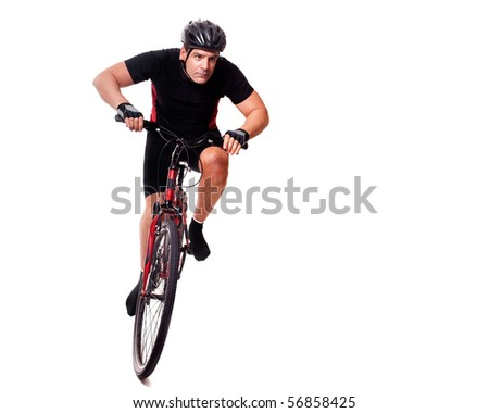 Cyclist Riding Bike - stock photo