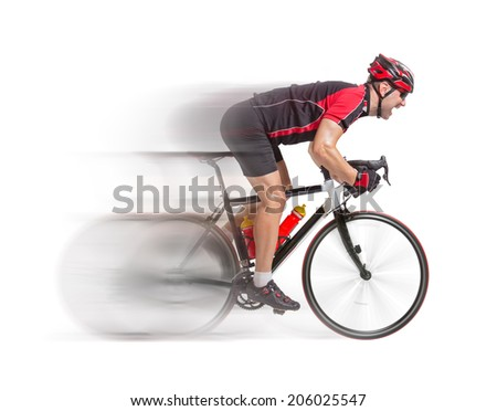 cyclist sprints on a bike isolated on white background. Cyclist racing on bike with blurred motion of racer. - stock photo