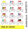 Cyclists from 11 nations have wore the famous Yellow Jersey in the Tour de France. - stock photo