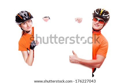 cyclists  holding the blank board on white background - stock photo