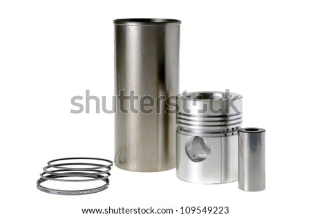Cylinder with a piston isolated on white. - stock photo