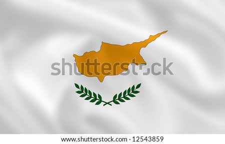 Cypriot satsilk waving flag (country from europe) - stock photo