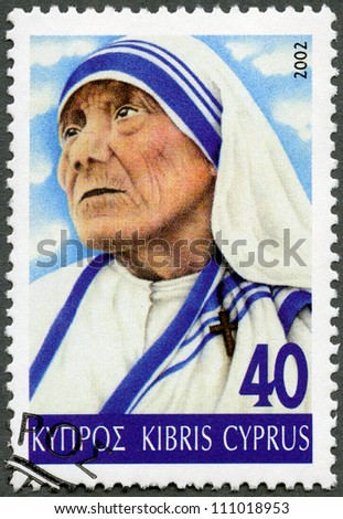 CYPRUS - CIRCA 2002: A stamp printed in Cyprus shows portrait of Mother Teresa (1910-1997), circa 2002 - stock photo