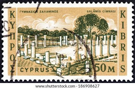 CYPRUS - CIRCA 1962: A stamp printed in Cyprus shows Salamis Gymnasium, circa 1962.  - stock photo