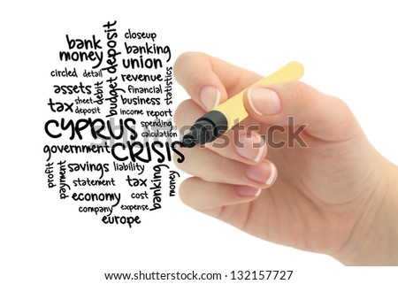 cyprus crisis word cloud drawn by hand - stock photo