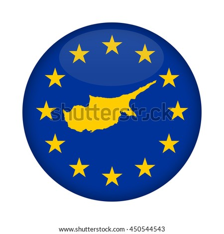 Cyprus map on a European Union flag button isolated on a white background. - stock photo