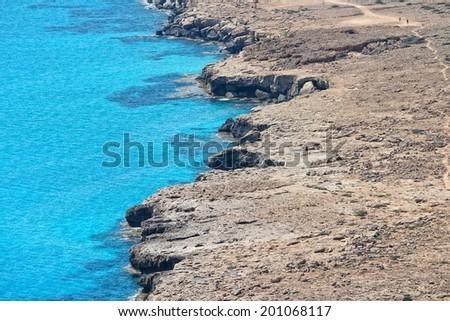Cyprus - Mediterranean Sea coast. Coast near Ayia Napa. - stock photo