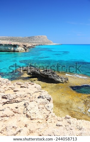 Cyprus - Mediterranean Sea coast. Scenic view near Ayia Napa. - stock photo