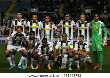 CYPRUS,NICOSIA- NOV 6:Borussia Monchengladbach team pose for a photo  during the Uefa Europa League against Apollon Limassol FC in Gsp Stadium on November 6,2014  - stock photo