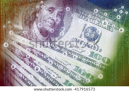 Cyptocurrency or digital money concept image. Double exposure of US Dollar banknotes, and abstract digital code background, Representing the Fintech innovation. - stock photo