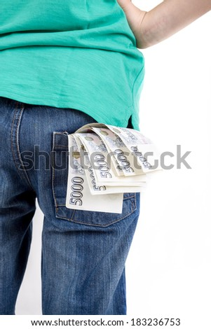 czech banknotes nominal value five thousand in pocket, money concept, how to be successful - stock photo