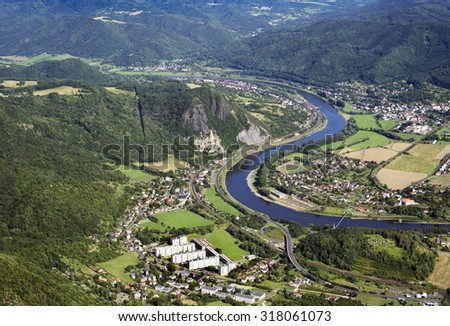 Czech Central Mountains, Valtirov, Mojzir, Velke Brezno, River Elbe (Reka Labe) and Kozi Vrch, close to Usti Nad Labem, Czech Republic - stock photo